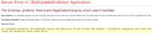 The GridView 'GridViewID' fired event PageIndexChanging which wasn't handled HATASI