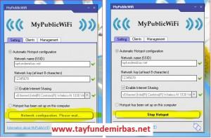Bilgisayardaki İnterneti Telefonlarda Kullanma (MyPublicWifi)